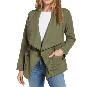 Caslon Open Front Draped Utility Jacket Army Green